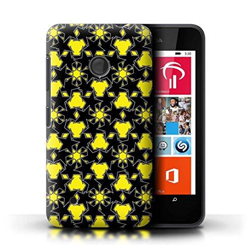 Custodia/Cover/Caso/Cassa Rigide/Prottetiva STUFF4 stampata con il disegno Spargimento Stelle per Nokia Lumia 530 - Modello Giallo