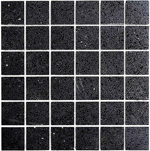 Mosaik Fliese Quarz Komposit Kunststein Artificial schwarz für BODEN WAND BAD WC DUSCHE KÜCHE FLIESENSPIEGEL THEKENVERKLEIDUNG BADEWANNENVERKLEIDUNG Mosaikmatte Mosaikplatte