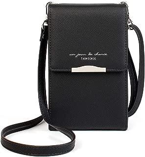 Premium PU Leather Workout Mini Crossbody Case Bag Women Shoulder Purse w/Card Holder for Motorola Moto Z3 | G6 Play | LG Stylo 4 | Google Pixel 3 XL | Sony Xperia 10 | iPhone Xs Max (Black)