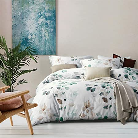 MILDLY 100% Egyptian Cotton Duvet Cover Sets, Gradient Teal Leaves Pattern Bedding Sets 3pcs, Ultra Soft and Breathable Chic Quilt Cover for All Season (1 Queen Comforter Cover + 2 Pillow Shams)