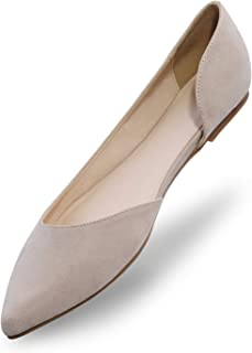 MIXIN Women's Pointed Toe Ballet Flat Comfort Slip On Flat Shoes