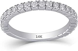 DOVEGGS Solid 14K White Gold 0.48CTW 1.9mm Band Width 1.7mm Moissanite Half Eternity Wedding Band Guard Ring for Women