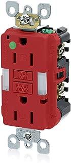 Leviton GFNL1-HGR 15A-125V Hospital Grade Tamper-Resistant Guide Light Duplex Self-Test GFCI Receptacle, Red, 15-Amp