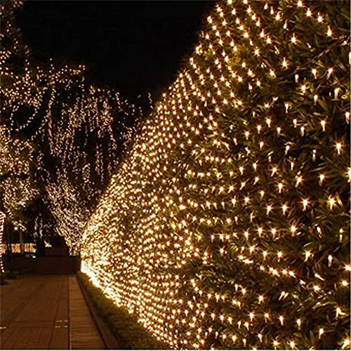 Outdoor Waterproof Fairy Lights 8 Modes String Lights 200 LED Outside Christmas Tree Net Lights Gazebo Pergola Teen Girl's Bedroom Wall Decorations-Warm White