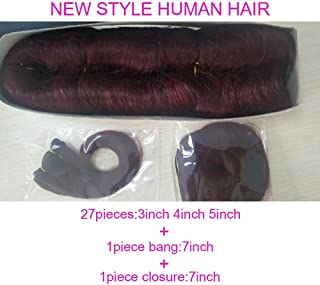 Brazilian virgin hair 27 pieces short hairstyle + 1 free closure + 1 free bang 29 piece weave human hair 100% virgin human hair extension(613)