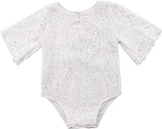 Nansiche Baby Girl White Hollow Ruffles Sleeve Lace Romper Sunsuit Bodysuit
