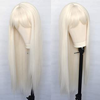 Luwigs Platinum Blonde Synthetic Wigs with Bangs Long Straight Machine Made Natural Looking Heat Resistant Fiber Wigs for ...