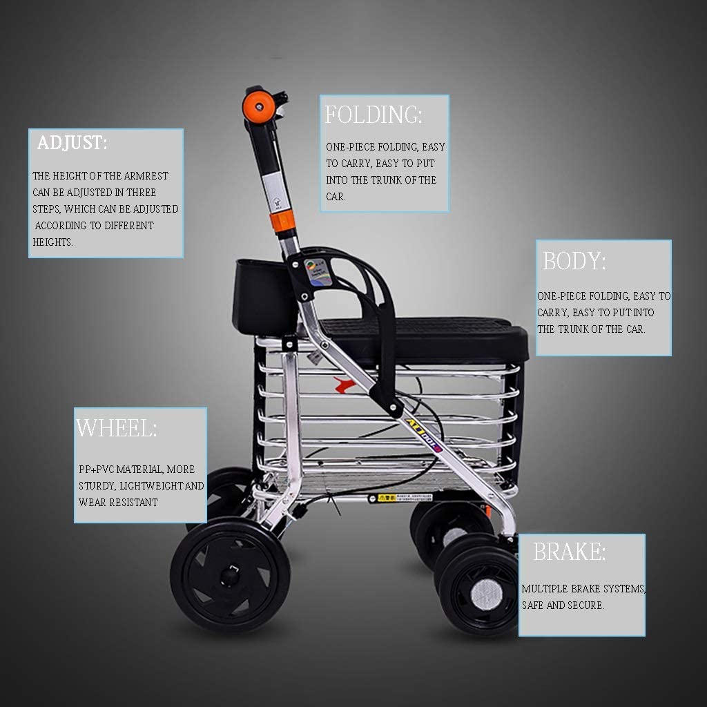 Lightweight Four-Wheeled Can Sit Folding Walker Multifunctional ...