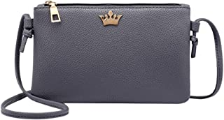Everpert Women Pu Leather Crown Shoulder Bag Zipper Casual Crossbody Bags/Dark Grey