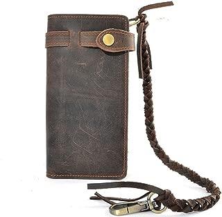 Mens Wallet with Chain Leather Long Bifold Trucker Wallet Vintage Biker Money Clip with Zipper
