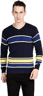 Neuvin Men's Woollen Pullover Striped Cardigan (Dark Blue, Free Size)