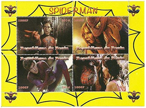 Collezione Marvel - Spiderman francobolli in foglio di 4 rilasciato nel 2014 Benin Repubblica/Mint e smontato