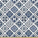 ABAKUHAUS Navy blau Stoff als Meterware, Spanisch