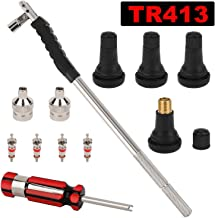 Hromee Tire Valve Stem Tool Puller and Installer Kit with TR-413 Tubeless Snap-in Valve Stem, Single Head Valve Core Remover and Slotted-Head Valve Cap Tire Repair Tool Accessory Set