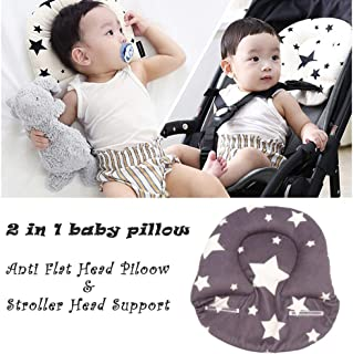 StoHua Baby Pillow for Newborn, Baby Head Shaping Pillow for Flat Head Syndrome Prevention, Baby Head Support Pillow with Breathable 3D Air Mesh, Soft Orgainc Cotton, Stroller Infant Sleeping Pillow