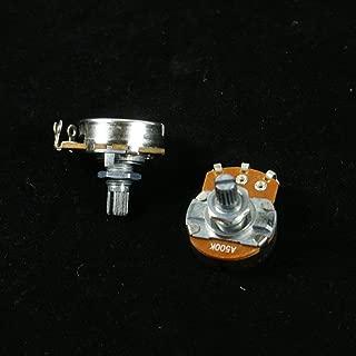 A pair of 500K A&B Control Pots Split Shaft Potentiometer 15mm Shaft Full Size