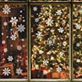 280 PCS Christmas Decorations Snowflake Window Decals Stickers Clings Xmas Holiday White Winter Ornaments Party Supplie
