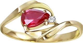 💎 14K Yellow Solid Gold Ring with Pear Shape 0.61 Carat Ruby and Round Natural Diamond