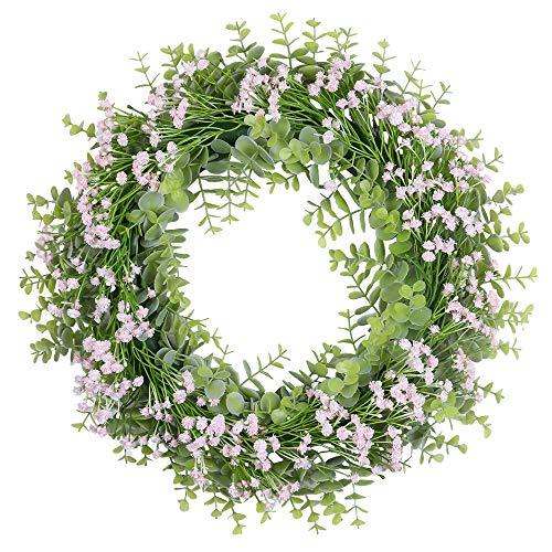 U'Artlines 40cm Kränz Künstliche Eukalyptusblätter mit Rosa Blumen für Haustür Wandbehang Fenster Hochzeitsfeier Dekoration