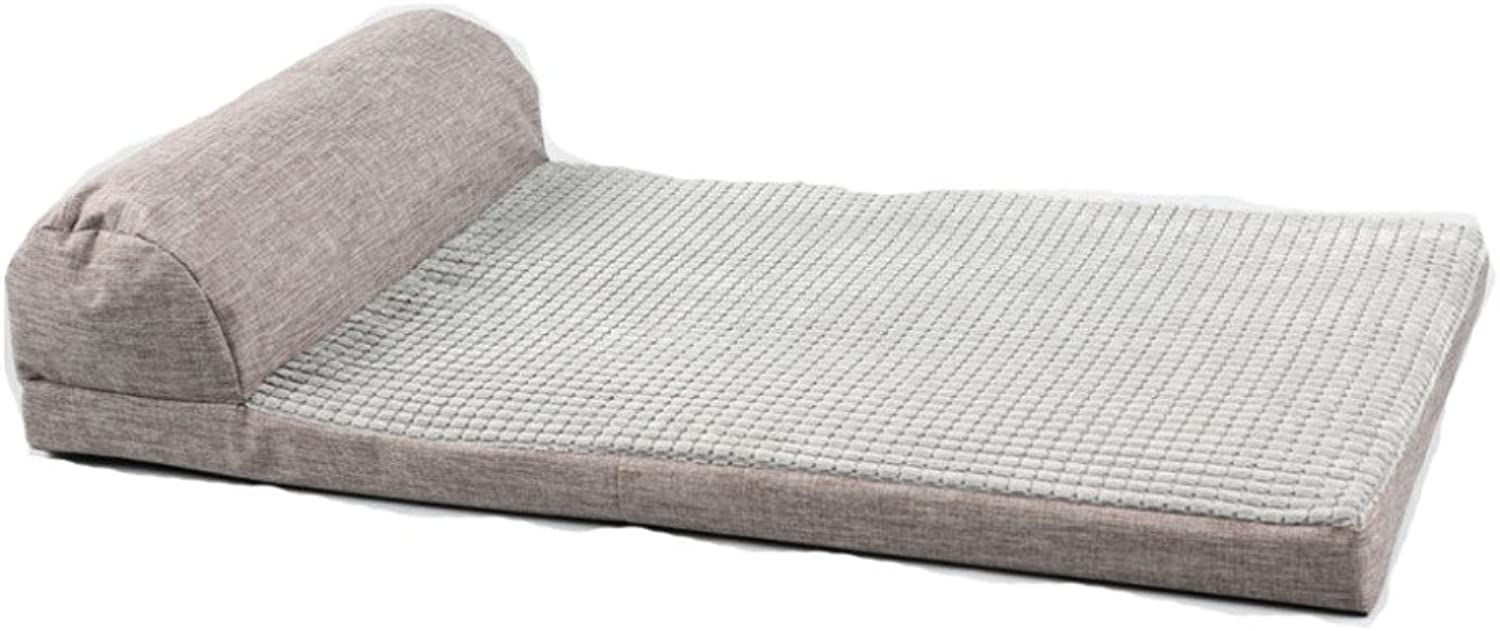 LDFN SingleSided Pillow Bed Removable and Washable Four Seasons General Medium and Large Dog Mattress Sofa Cushions,GreyM