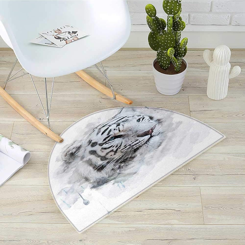 Animal Semicircle Doormat Artistic Portrait of a White Tiger Wild Nature Predator Watercolor Splashes Halfmoon doormats H 39.3  xD 59  Black Grey White