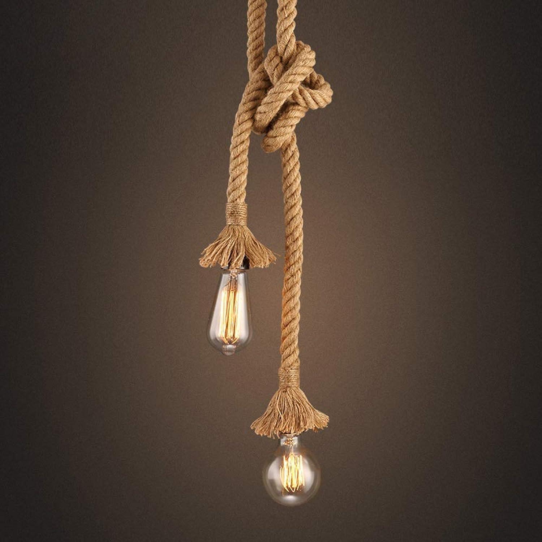 GaoHX Hngelampe Vintage Seilampe Pendelleuchte Hngeleuchte Lampenfassung E27 Fassung (ohne Birne) [Energieklasse A+] (Farbe   Doppelkopf, Gre   1.5m)