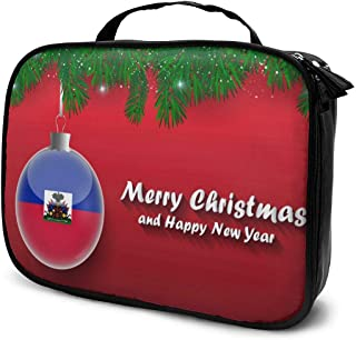 Cosmetic Bag Christmas Tree Branches Ball Haiti Flag Makeup Bag Lightweight Portable Cosmetic Case Water Resisted Cosmetic Makeup Bag Durable Organizer Makeup Boxes With Insulated Pockets For Travel