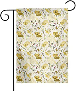 Mannwarehouse Kids Garden Flag Happy Smile Cats Kittens with Hearts Abstract Floral Figures Childhood Joy Fantasy Decorative Flags for Garden Yard Lawn W12 x L18 Multicolor