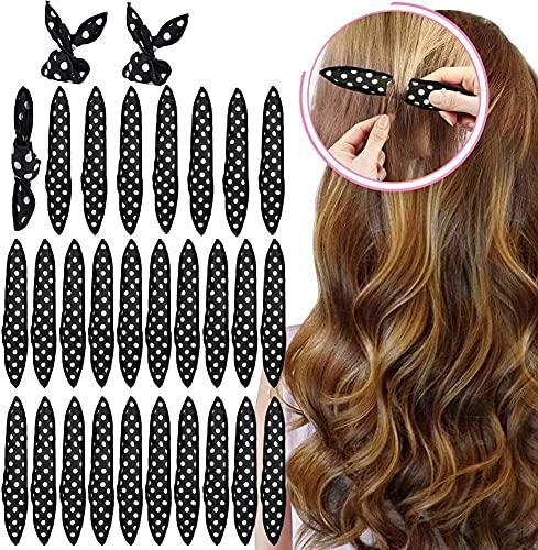 30pcs Flexible Espuma de rulos de esponja, Sin calor Rizadores cabello Almohada mágica Rodillos suaves Cuidado del cabello Herramientas bricolaje para peinar cómodas dormir