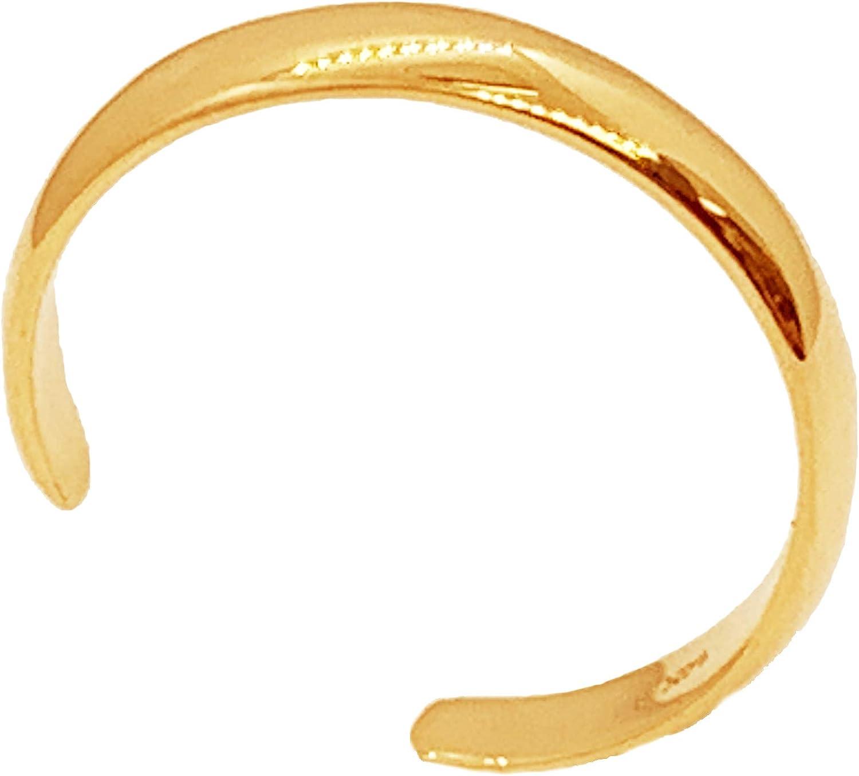 Ritastephens 14k Solid Gold Shiny High Polished Plain Band Toe Ring Adjustable (Yellow or White)