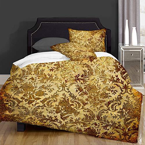 Bettwäsche, Bettbezug-Set, goldfarben, Vintage-Design, goldfarben, goldfarben, rustikales Scrap, superfeine Fasern, Steppdecken und 2 Kissenbezüge