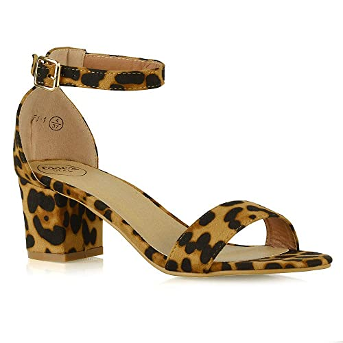 5bd3346c1b0 Womens Low Mid Heel Block Peep Toe Ladies Ankle Strap Party Strappy Sandals  Shoes Size 3