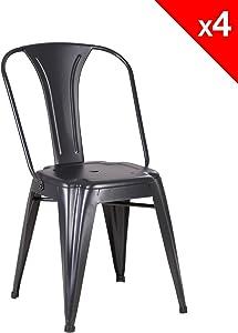 KAYELLES Brook Chaise Metal Industriel - Lot de 4 chaises bistrot (Noir)