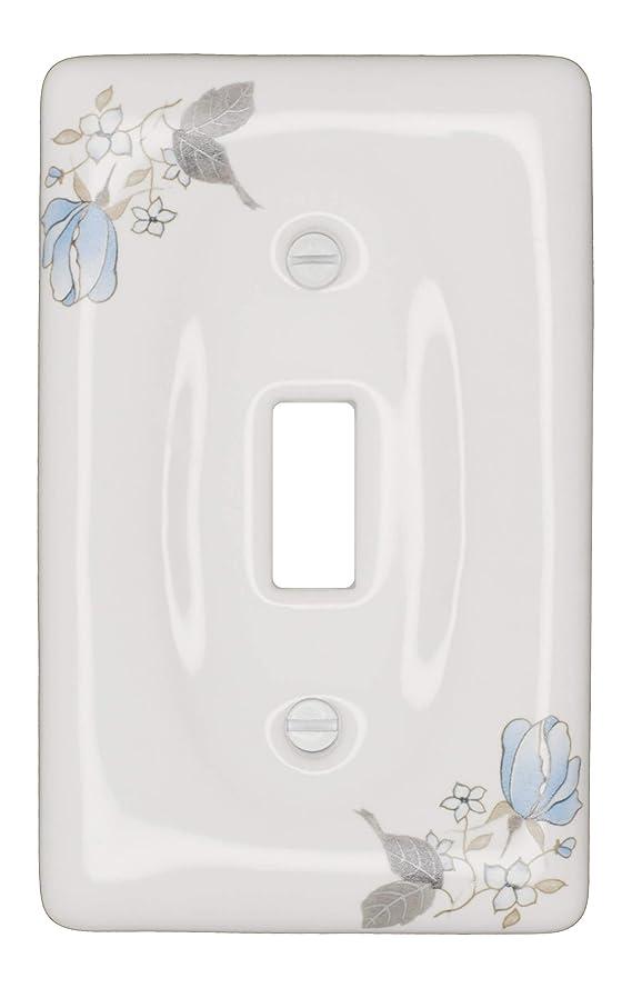 意気込み支配的世論調査磁器装飾スイッチプレート ウォールプレート カバー ブルーフラワー 3001 ホワイト