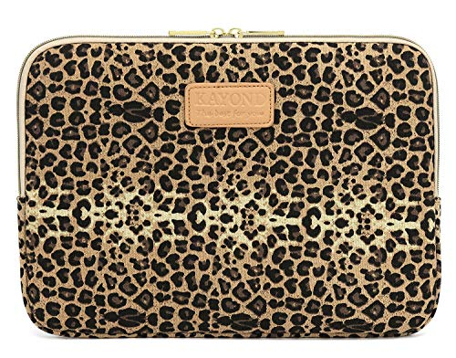 KAYOND Laptop Sleeve 11 inch Laptop Case with Water-Resistant and Shockproof Protective Case for 11.6 inch Notebook Computer MacBook air 11 MacBook 12 and Pocket Tablet - Brown Leopard Print