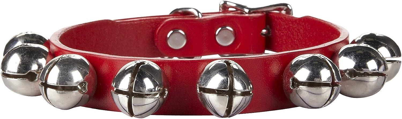 Auburn Leather Red Jingle Bells Christmas Pet Dog Collar  USA Made