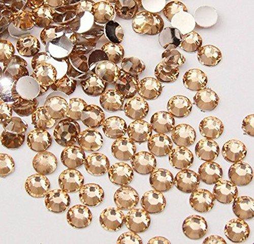 Lot de 500 perles strass en acrylique à dos plat pour décoration d'ongles (champagne)