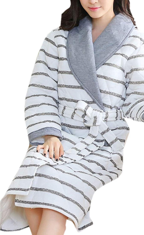 Keaac Women Cute Cotton Flannel Fleece Long Sleeve Cozy Bath Robe Sleepwear
