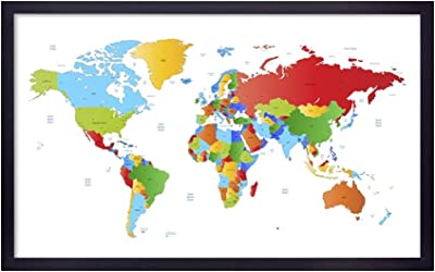 999Store Printed Green and Red Wolrd Map Painting Wall Art with Black Frame (Canvas_18X30 Inches_Multi) BLFLP18300291