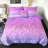 Sleepwish Glitter Comforter Set Twin Size Colorful Abstract Purple and Pink Bedding Kids Girls Sparkly Pastel Ombre Reversible Comforter (4 Piece, 1 Comforter 2 Pillowcases 1 Cushion Cover )