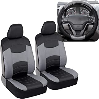 BDK v-Leather Car Seat Covers & Steering Wheel Cover for Auto Care - Synthetic Leather Material - Carbon Fiber Accent Steering - Front Seat Coverage Protection (Slate Gray)
