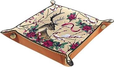 KAMEARI Skórzana taca łoś jeleń róża czerwony kwiat klucz telefon moneta pudełko skóra bydlęca taca na monety praktyczne p...