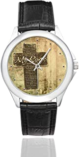 Christian Cross and Bible Verse Waterproof Women's Stainless Steel Classic Leather Strap Watches, Black