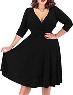 a9321e0ada Nemidor Women s V-Neckline Stretchy Casual Midi Vintage Dress