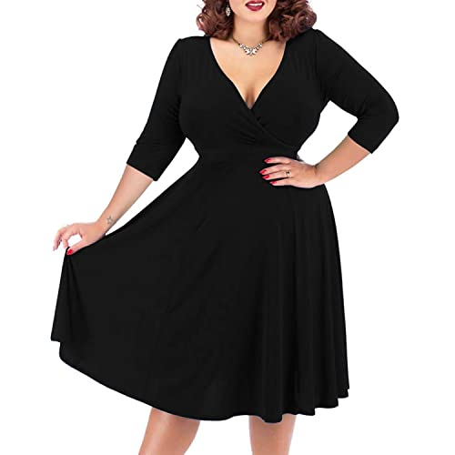 Black Plus Size Midi Dresses: Amazon.com