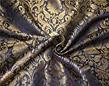 Puresilks Brokat-Stoff, Marineblau x Metallic Gold, 111,8