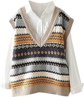 SMIMGO Suéter de punto sin mangas para mujer, clásico vintage con cuello en V chaleco de otoño casual jerseys Gilets chale...