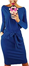 kigod Women Casual Round Neck Long Sleeve Midi Dress Wear to Work Belted Pencil Dress with Pockets