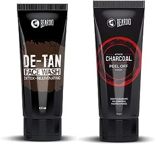 BEARDO Activated Charcoal Peel Off Mask and Beardo De-Tan Face Wash Combo, 100 g