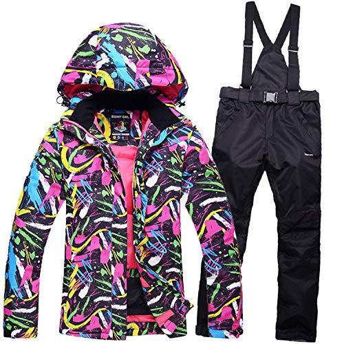 Zjsjacket Tuta da Sci Abbigliamento da Snowboard per Donna Completo da Snowboard Completo da Uomo Impermeabile Invernale da Montagna Cappotto Completo da Sci Giacche + Pantaloni da Bavaglino